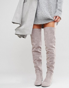 grey thigh high boots asos pic